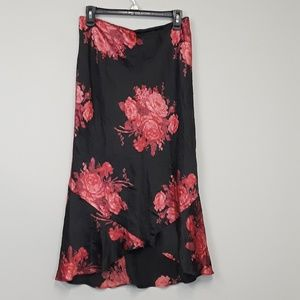 Express 100% silk floral midi skirt size Medium